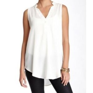 Lush Sheer White Sleeveless V-Neck
